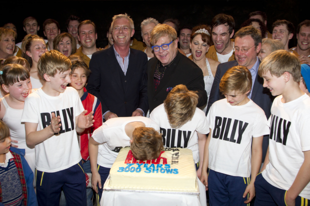 Lee Hall (right) with Stephen Daldry and Elton John at Billy's seventh birthday in 2012
