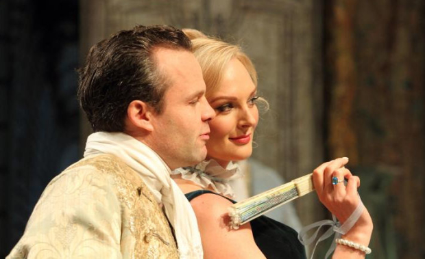 Jamie Glover (The Count) and Katherine Kingsley (Hortensia) in The Rehearsal
