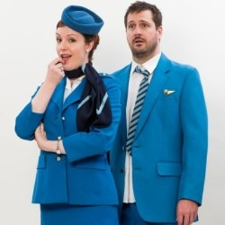 Kitty Whately as the Stewardess and George von Bergen as the Steward in a publicity still for Flight (OHP)