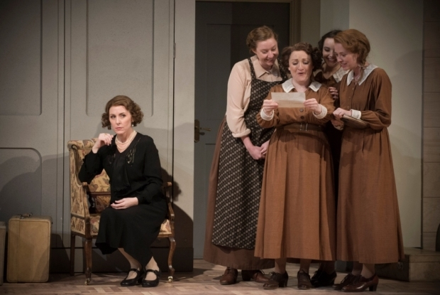 Mary Dunleavy as Christine with Ailish Tynan as her maid, Anna, and Alice Devine, Elka Lee-Green and Charlotte Sutherland as her staff