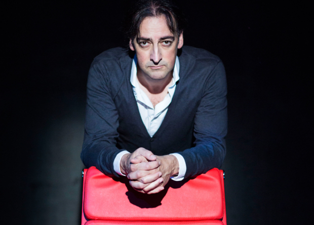 Alistair McGowan on the set of An Audience with Jimmy Savile
