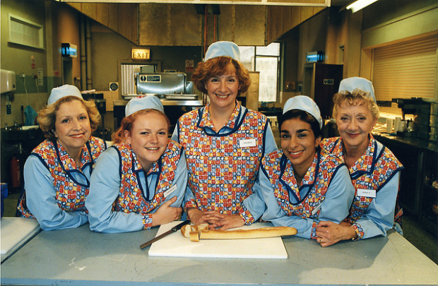 With Victoria Wood and the cast of Dinnerladies