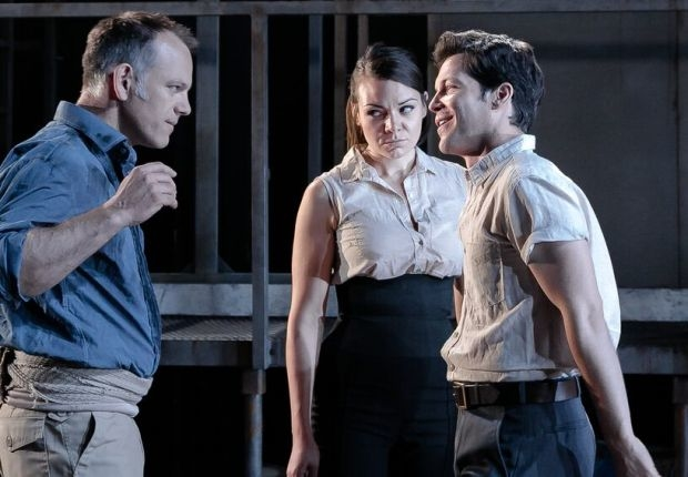 Michael Bracegirdle as José, Lilly Papaoannou as Carmen and Marc Callahan as Escamillo in Carmen (OperaUpClose)