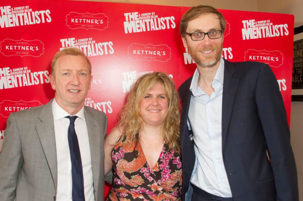 Abbey Wright with Mentalists stars Steffan Rhodri and Stephen Merchant