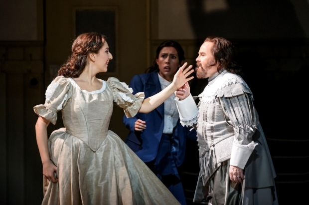 Rosa Feola as Elvira, Elena Thomas as the silent Elvira and Barry Banks as Arturo in I puritani (WNO)