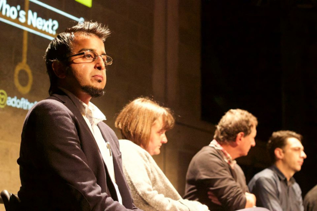 Madani Younis, Sarah Frankcom and David Lan speaking at the Young Vic last week