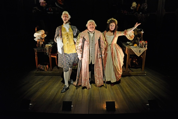 Last leg: Joseph Millson (David Garrick), Simon Russell Beale (Samuel Foote) and Dervla Kirwan (Peg Woffington) in Mr Foote's Other Leg