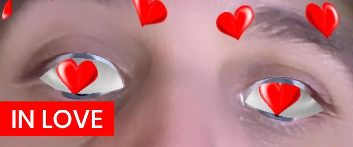 Hear eyes Instagram filter for Valentine's Day