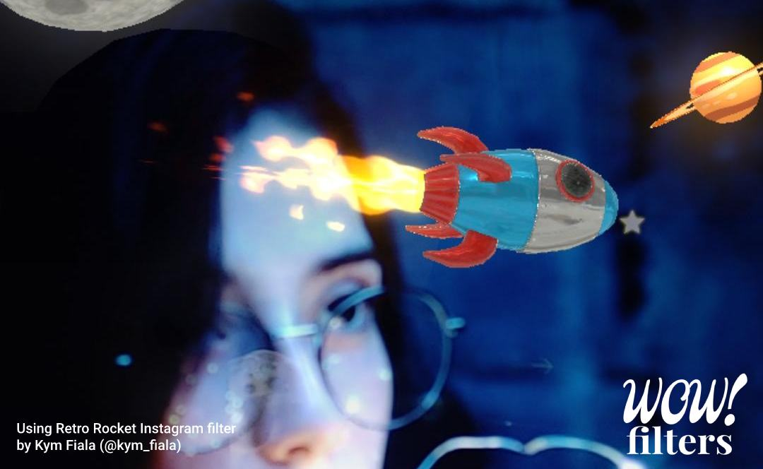 3d space rocket in augmented reality, Instagram filter