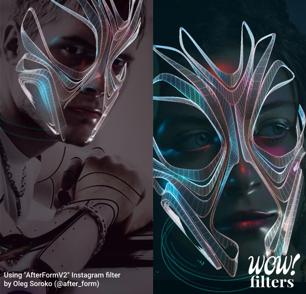 People wearing a futuristic wireframe Instagram face mask