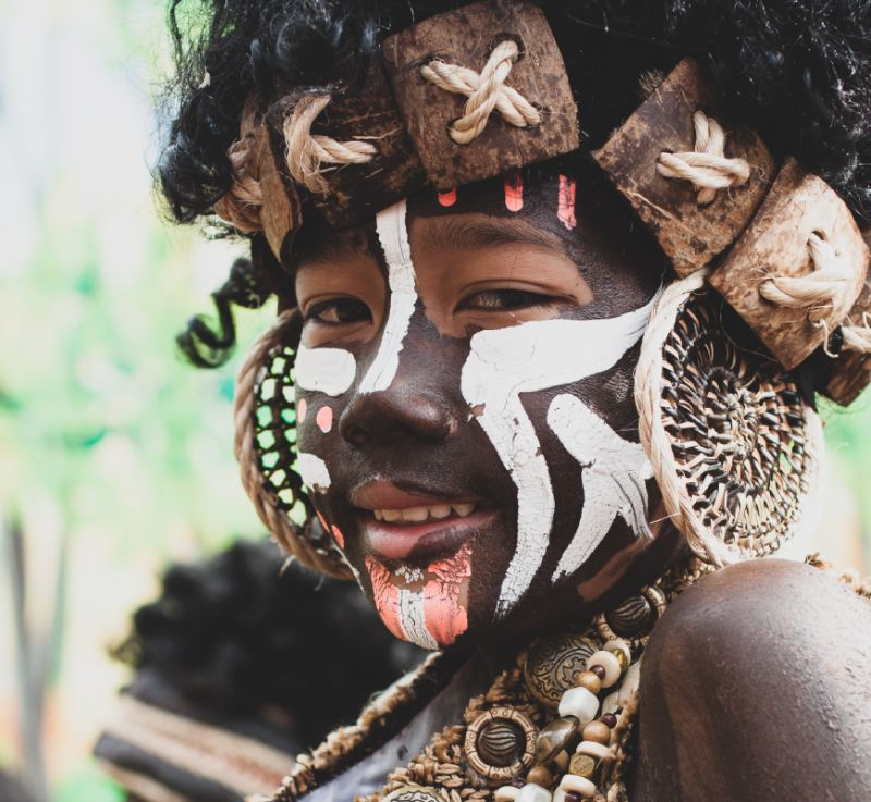 Tribal face and body makeup