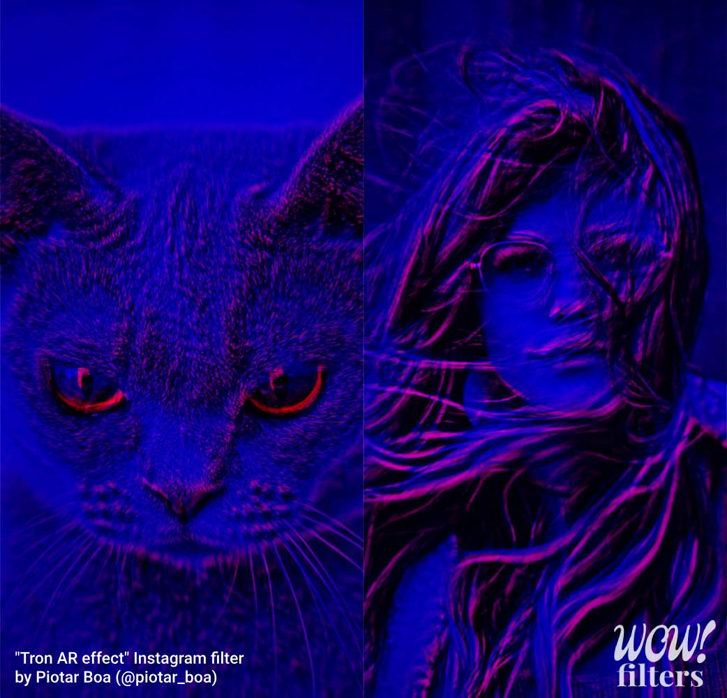 Cat and girl image with tron camera effect