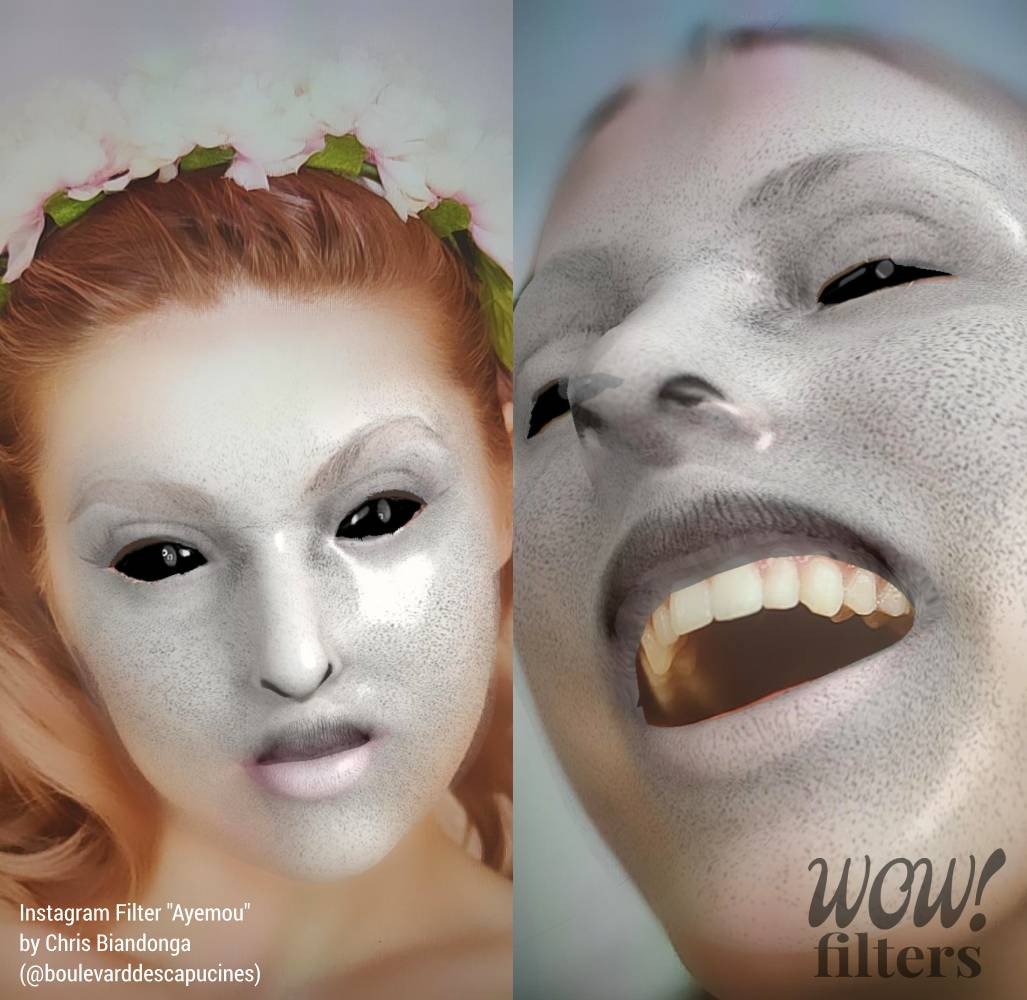 Two Creepy black eye Instagram face mask images