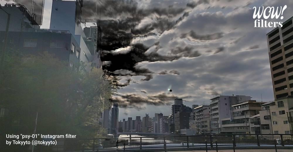 Black energy spreading through the sky, Instagram filter
