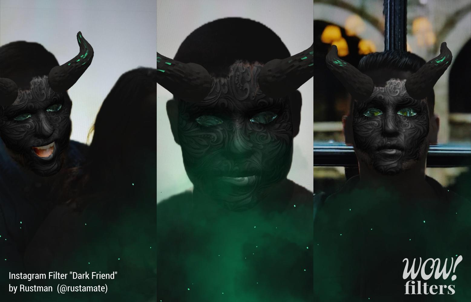 Dark demon Instagram face mask