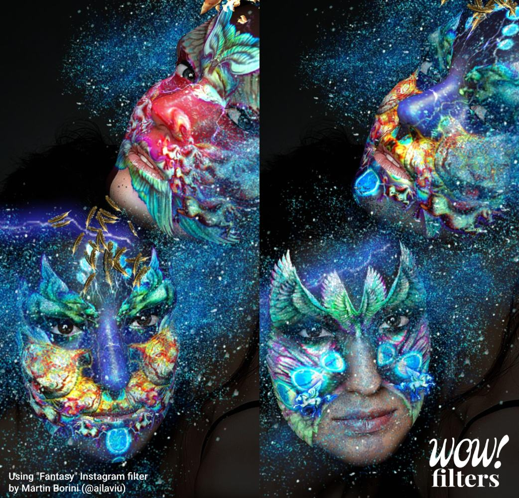 Beautiful fantasy 3d makeup in augmented reality, as IG filter