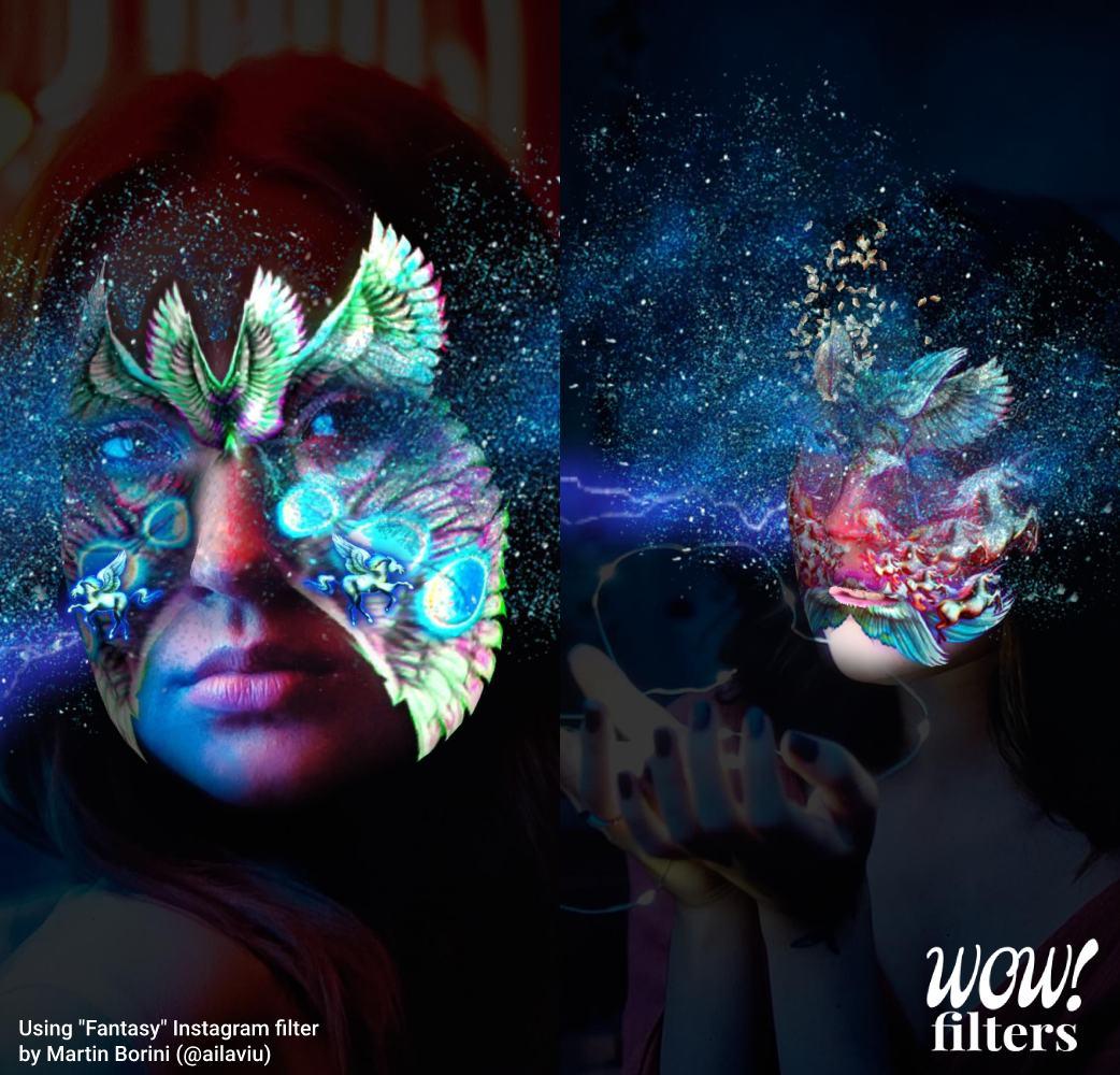 Gorgeous artistic fantasy Instagram face masks