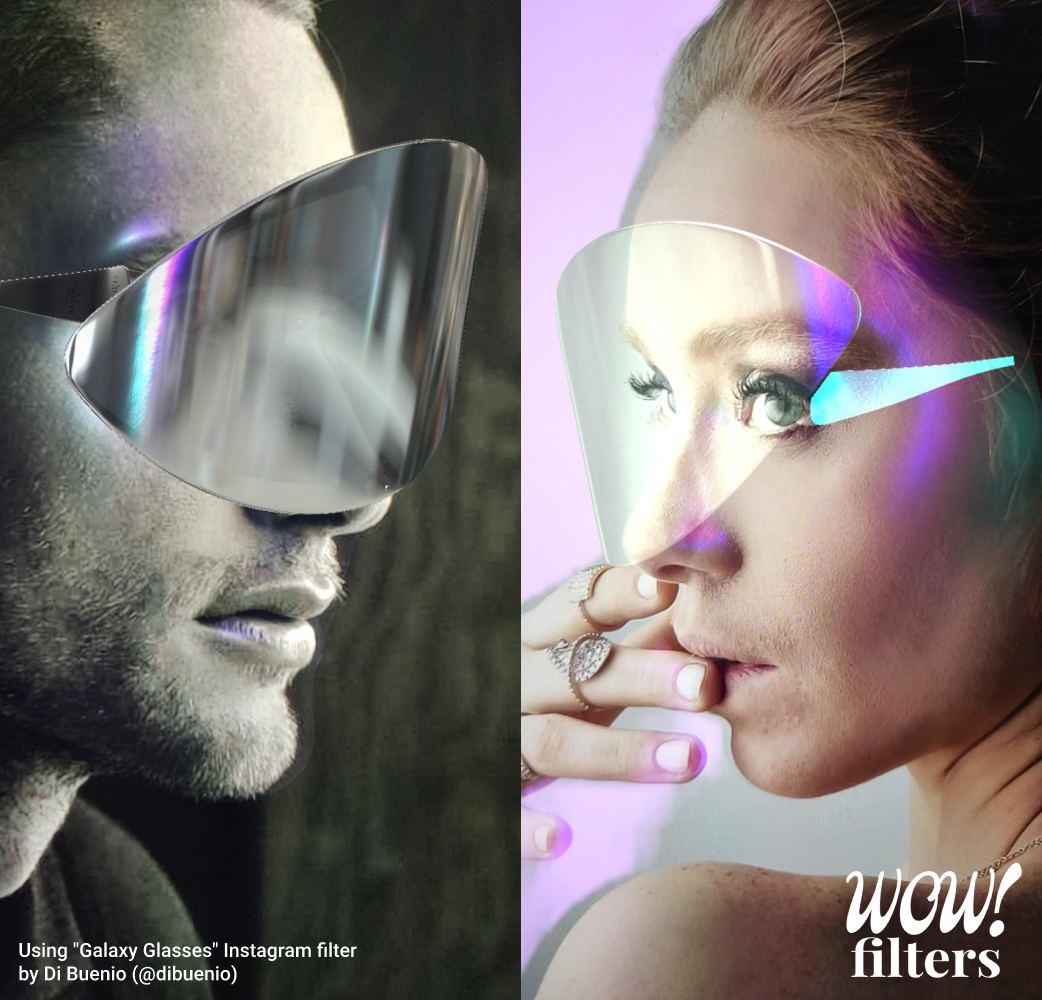 AR glasses Instagram filter side view