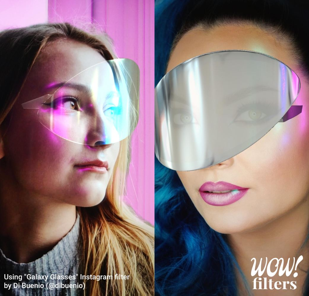 Futuristic looking virtual glasses Instagram filter