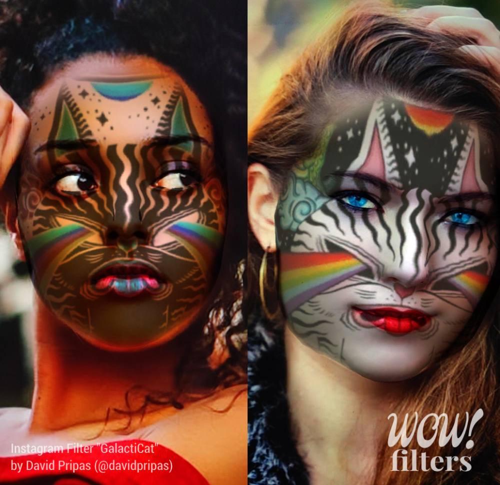 Two women wearing augmented reality makeup