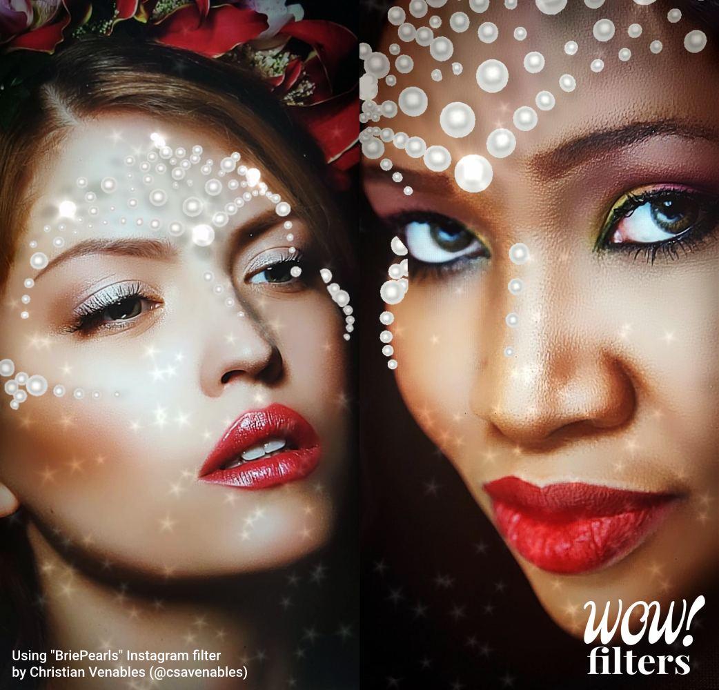 Two models wearing Pearls makeup Instagram filter