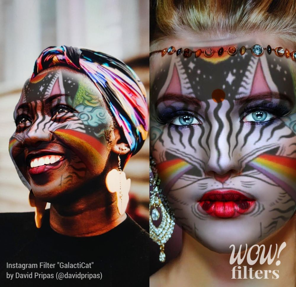 Two women with AR 3D makeup using an Instagram filter