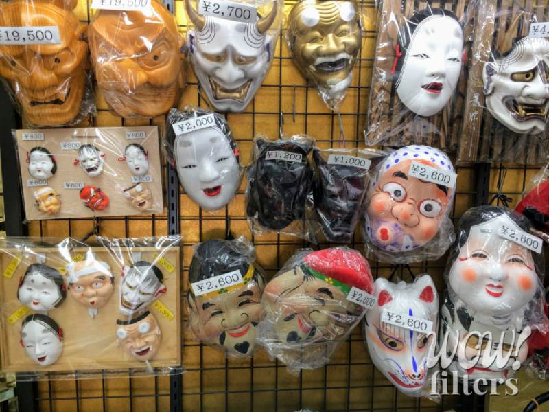 Japanese face masks in a showcase