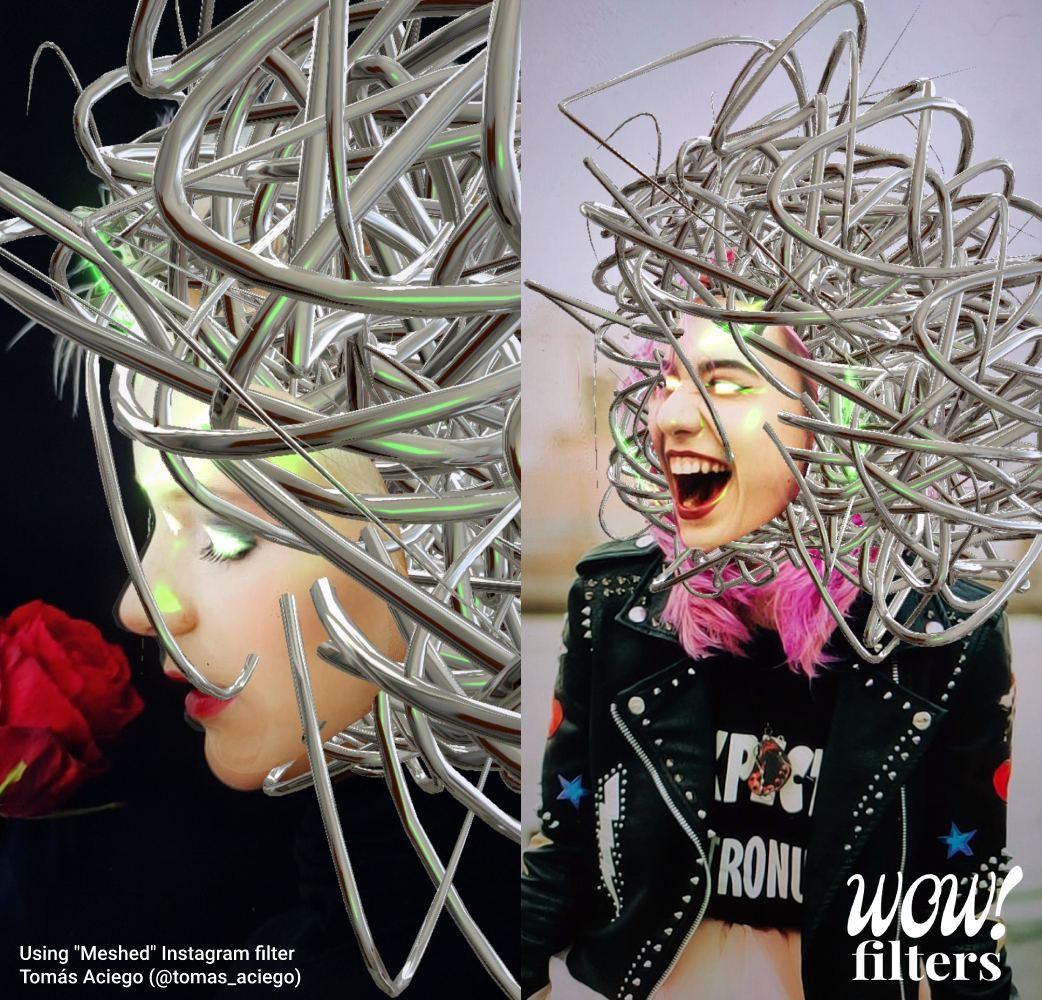 Metallic meshed hair Instagram face filter