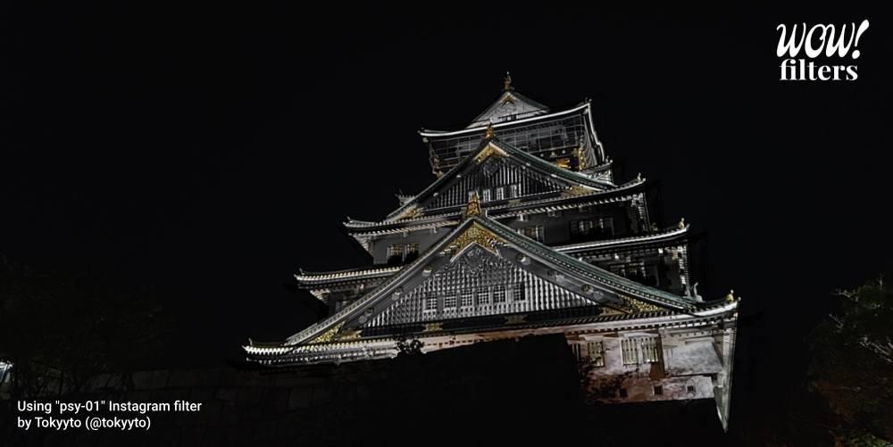 Osaka Castle, Japan, black color filter Instagram effect