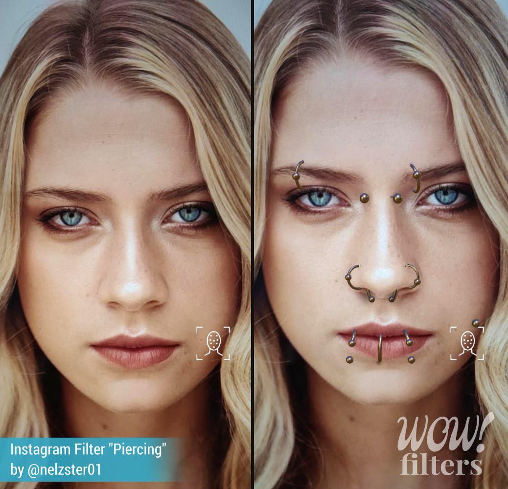 Piercing AR simulation, Instagram filter
