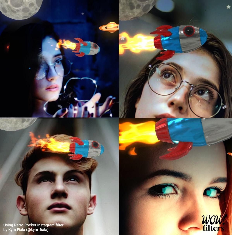 3d retro rocket circulating around a human's face, Instagram filter