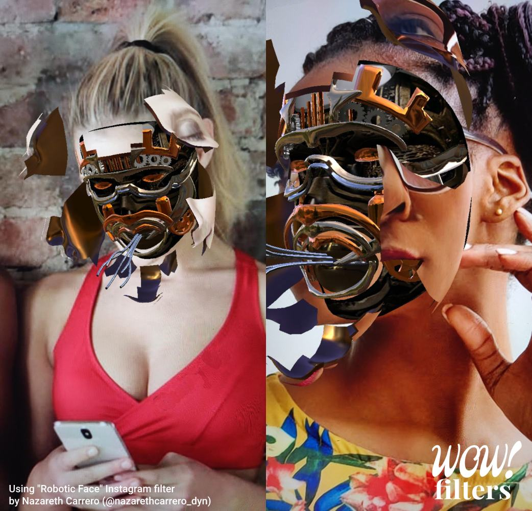 Two Android women showing their robotic face exposed, Instagram face mask