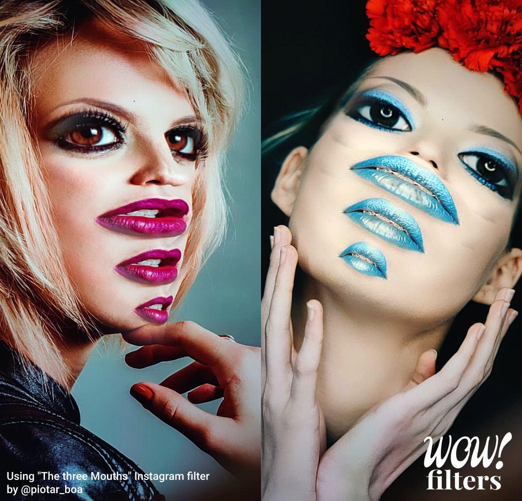 The Three Mouths IG 3D makeup filter