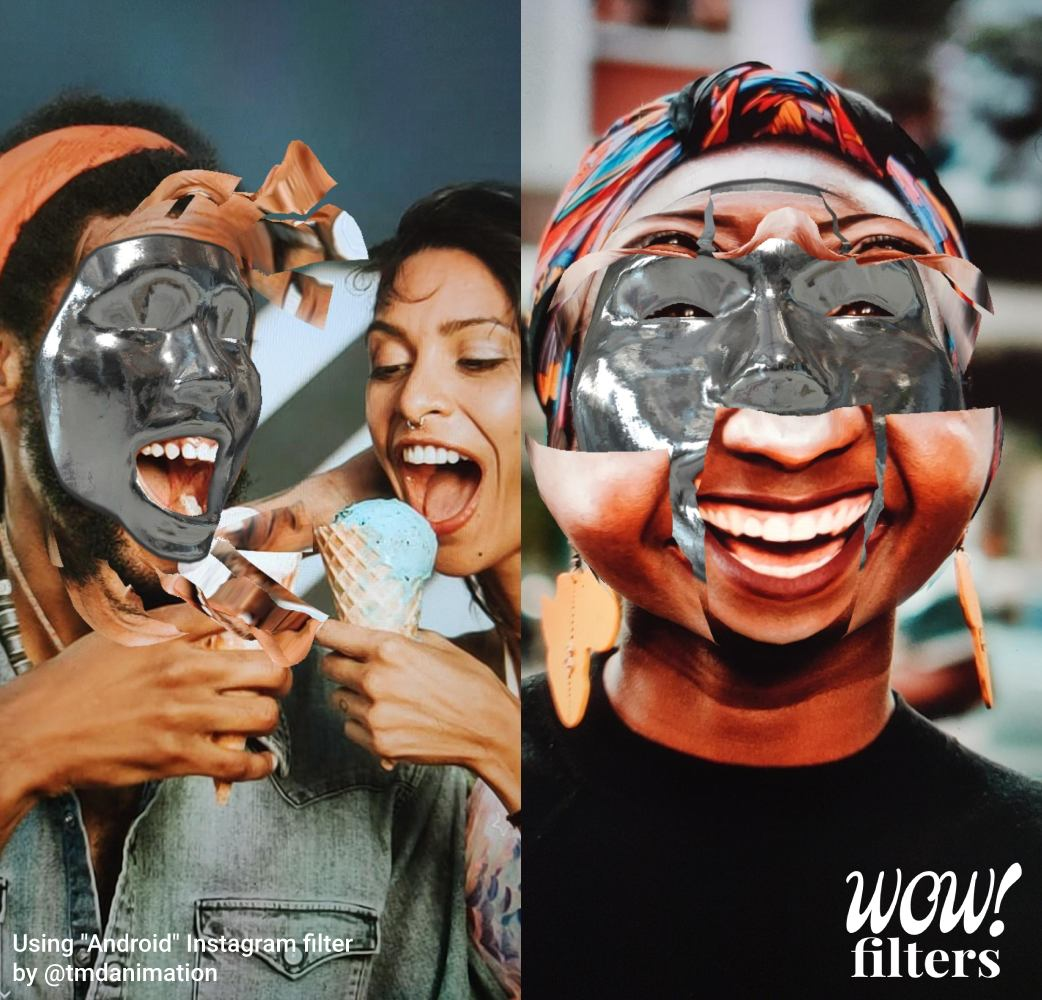 People with metallic Android Instagram face mask