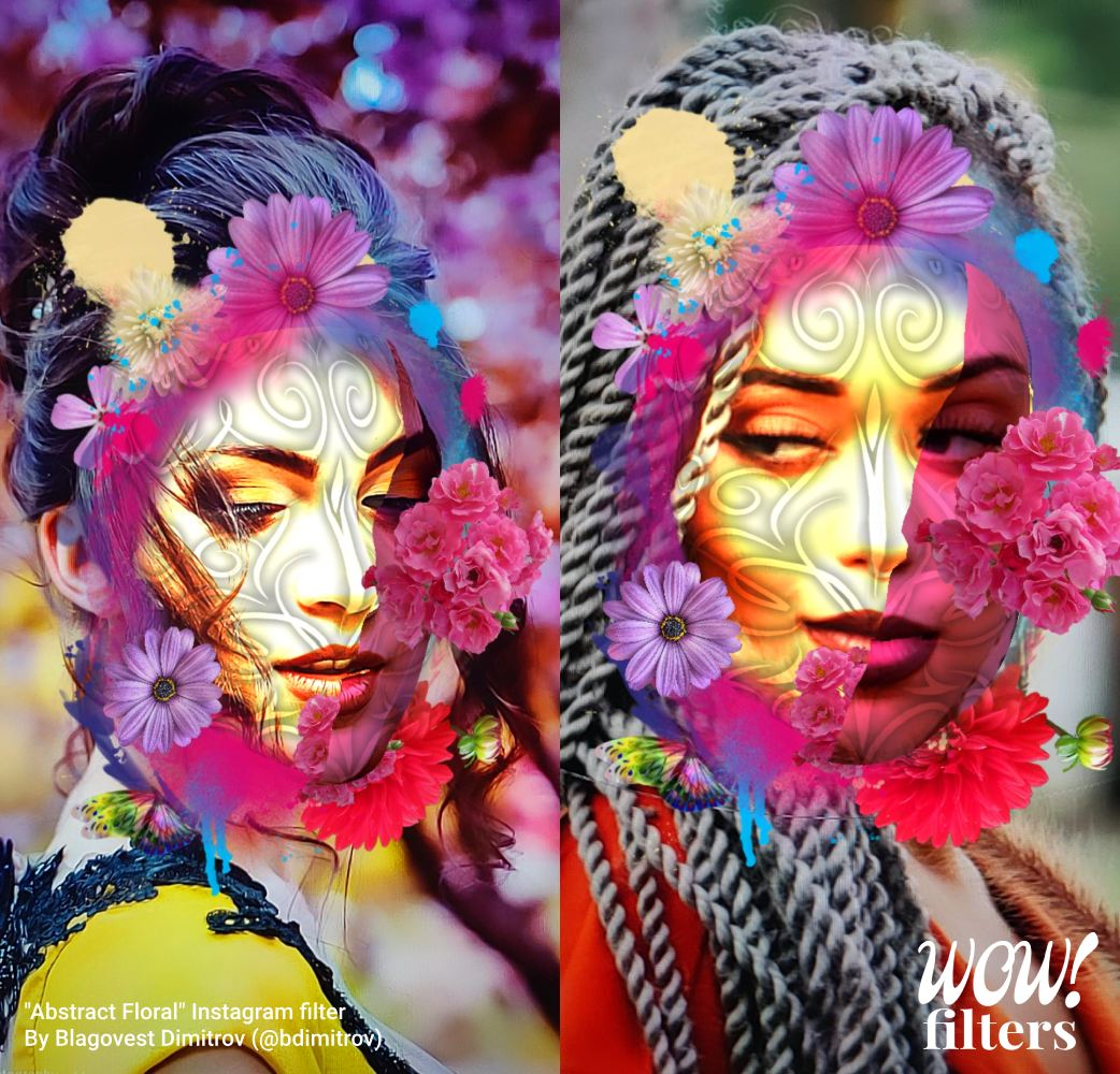 Two women with augmented flowers Instagram face mask