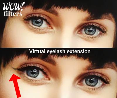 virtual eyelash extension Instagram filter