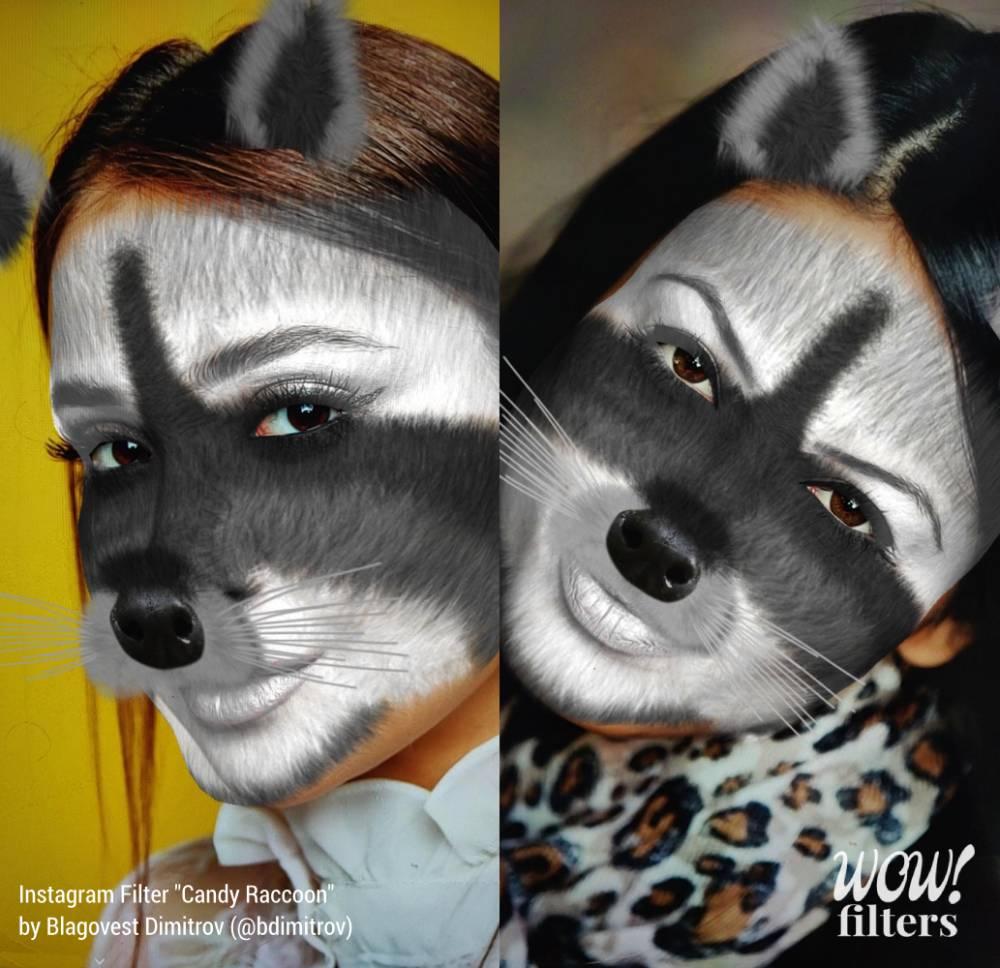 Two women wearing Instagram AR filter of a furry raccoon