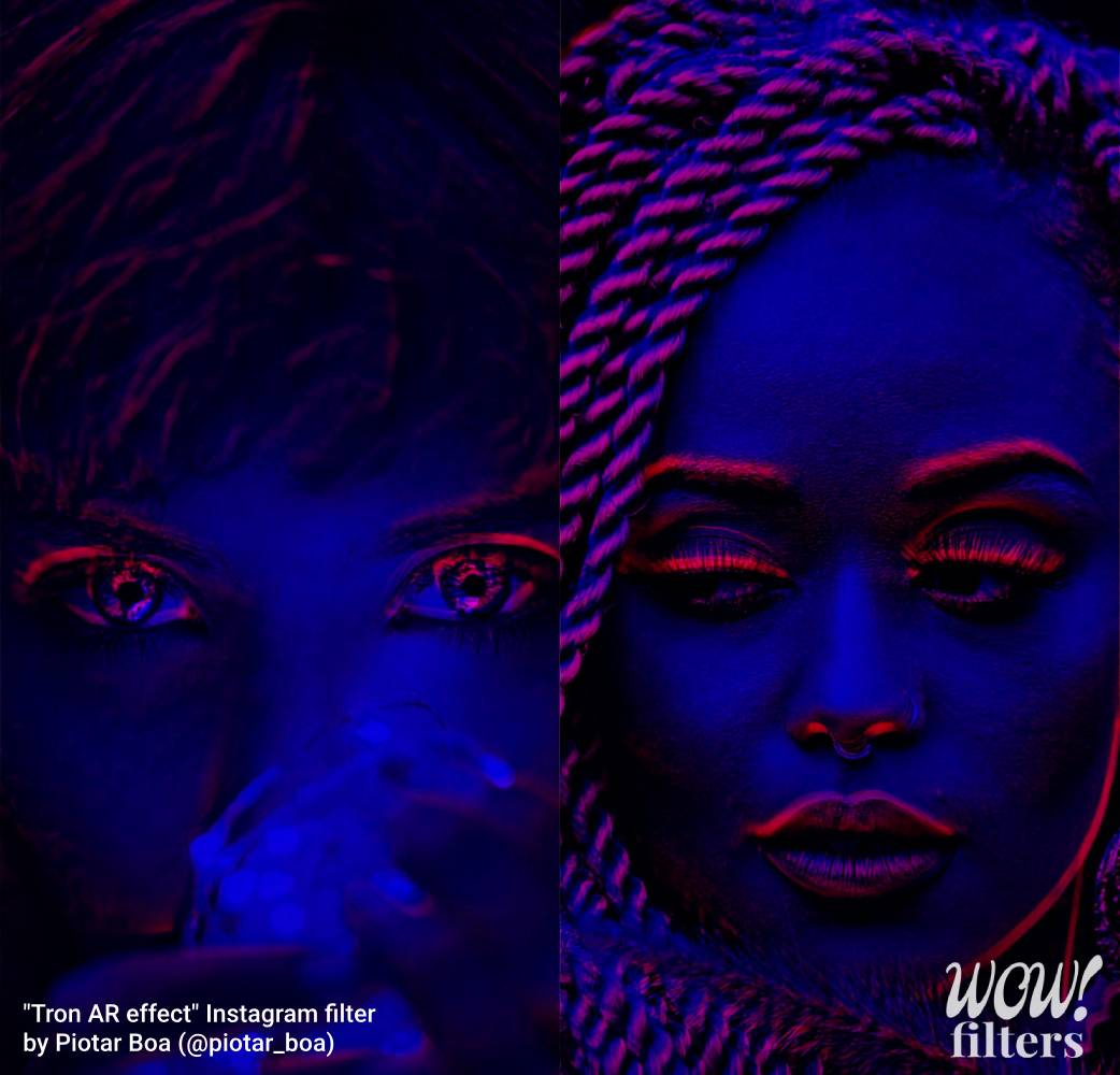 Two women with Tron visual AR effect