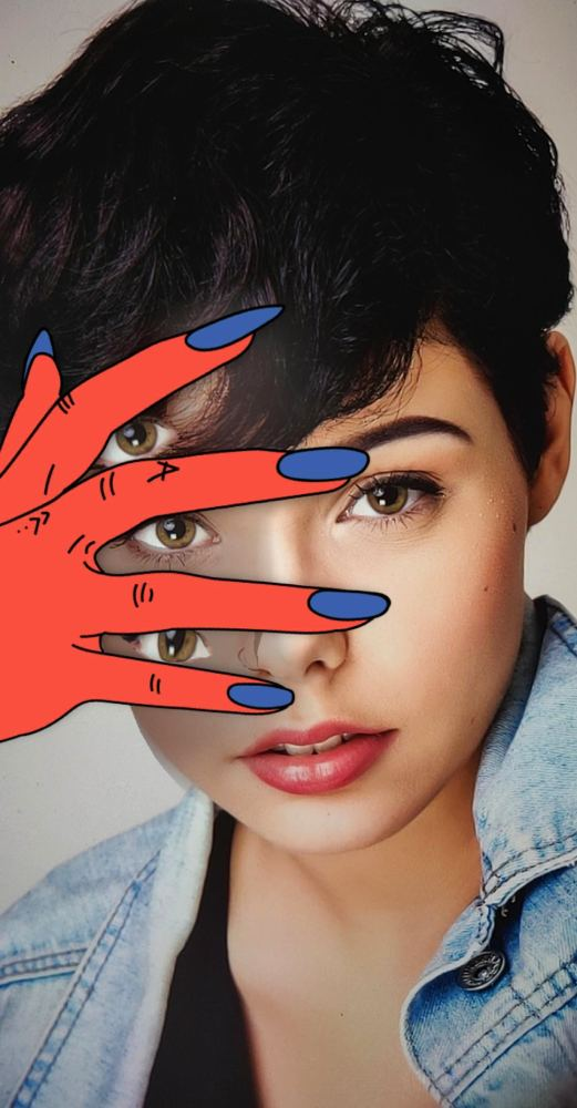 Surrealistic Hand Covering Face Pose