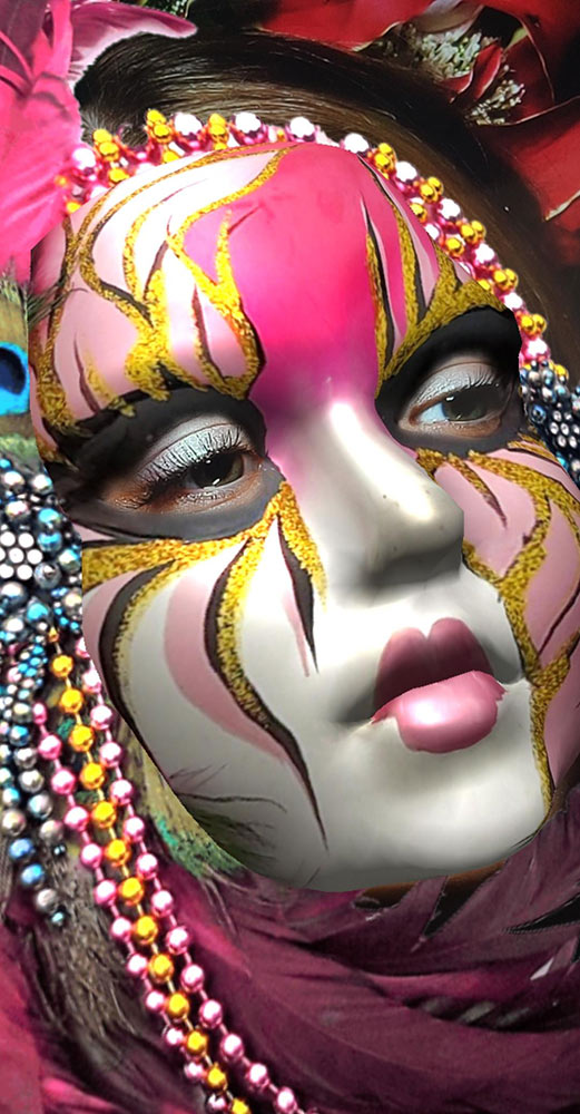 Feathers Pearl Cordon Carnival Mask