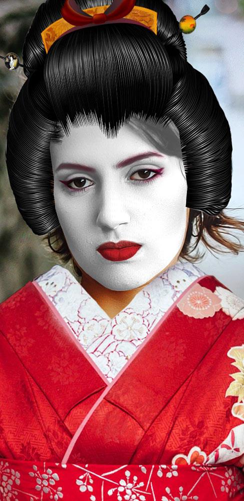 Geisha Costume - Traditional Wig & Makeup