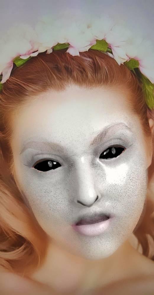 Creepy Dark Eyes Marble Face