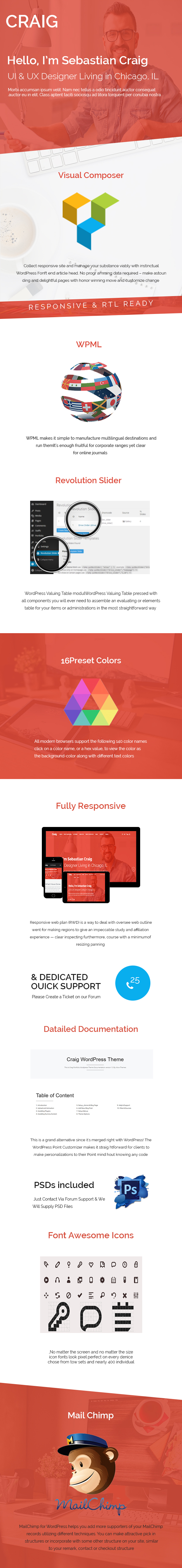 Craig One Page responsive WordPress Theme