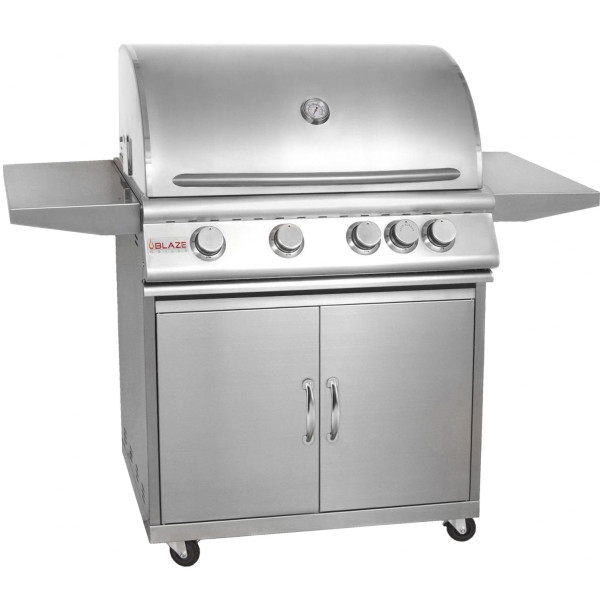 Blaze 32 Inch 4-Burner Grill With Rear Burner On Cart Product Image