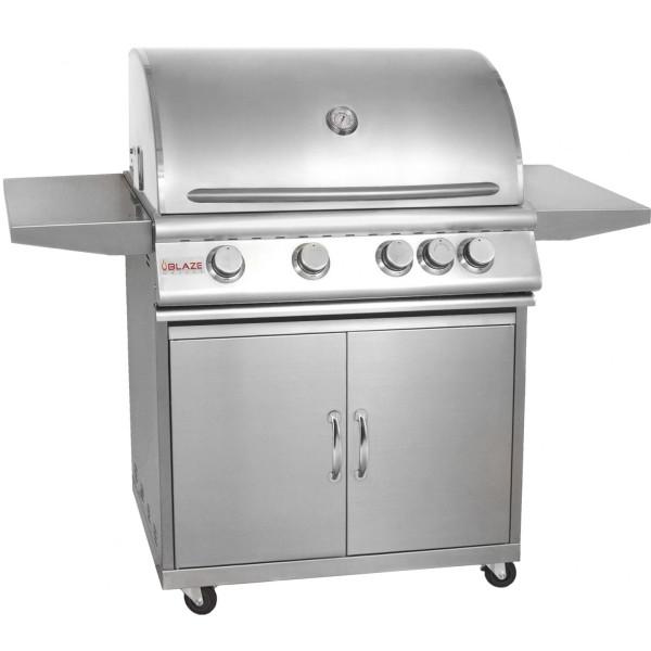 Blaze 32 Inch 4-Burner Grill With Rear Burner On Cart Product Image