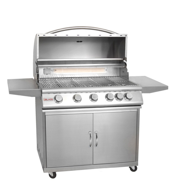 Blaze 40 Inch 5 Burner Grill With Rear Burner On Cart