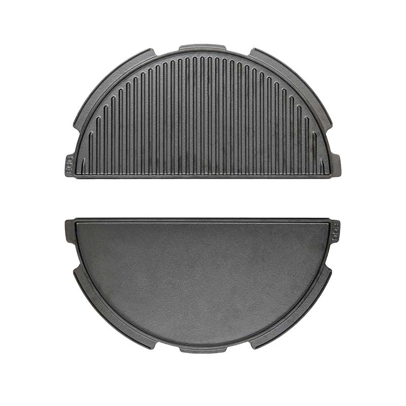 Product detail image of cast iron half moon dual sided plancha grill and griddle for the Big Green Egg