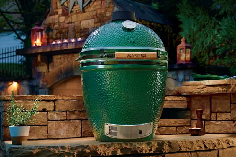 Big Green Egg in an Atlanta outdoor kitchen on display