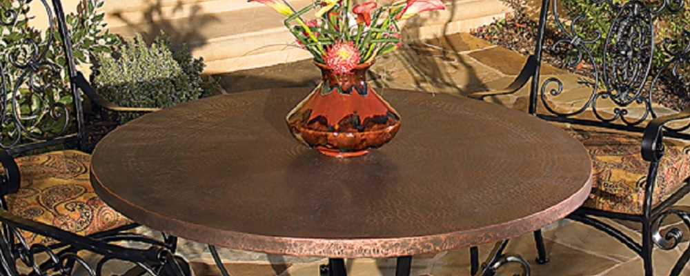 Hammered Copper Table Tops by O.W. Lee