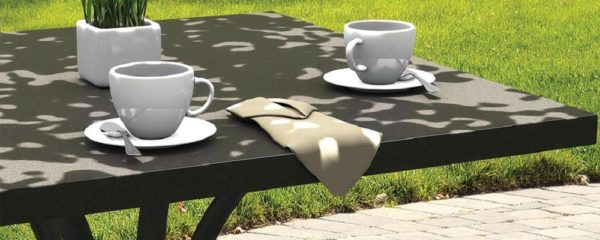 Ion Patterned Aluminum Tables by Tropitone